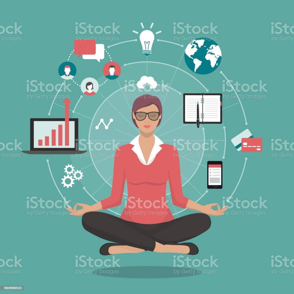 Businesswoman practicing meditation vector art illustration