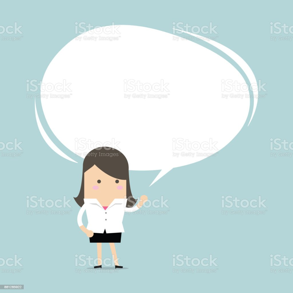Businesswoman presented his idea with speech balloon. vector vector art illustration
