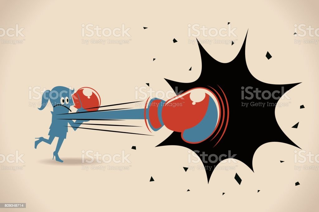Businesswoman (woman, girl) punching with boxing glove vector art illustration
