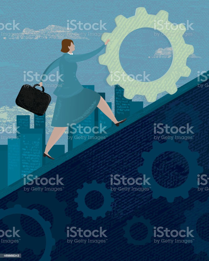 Businesswoman pushing a gear quickly upward royalty-free businesswoman pushing a gear quickly upward stock vector art & more images of achievement