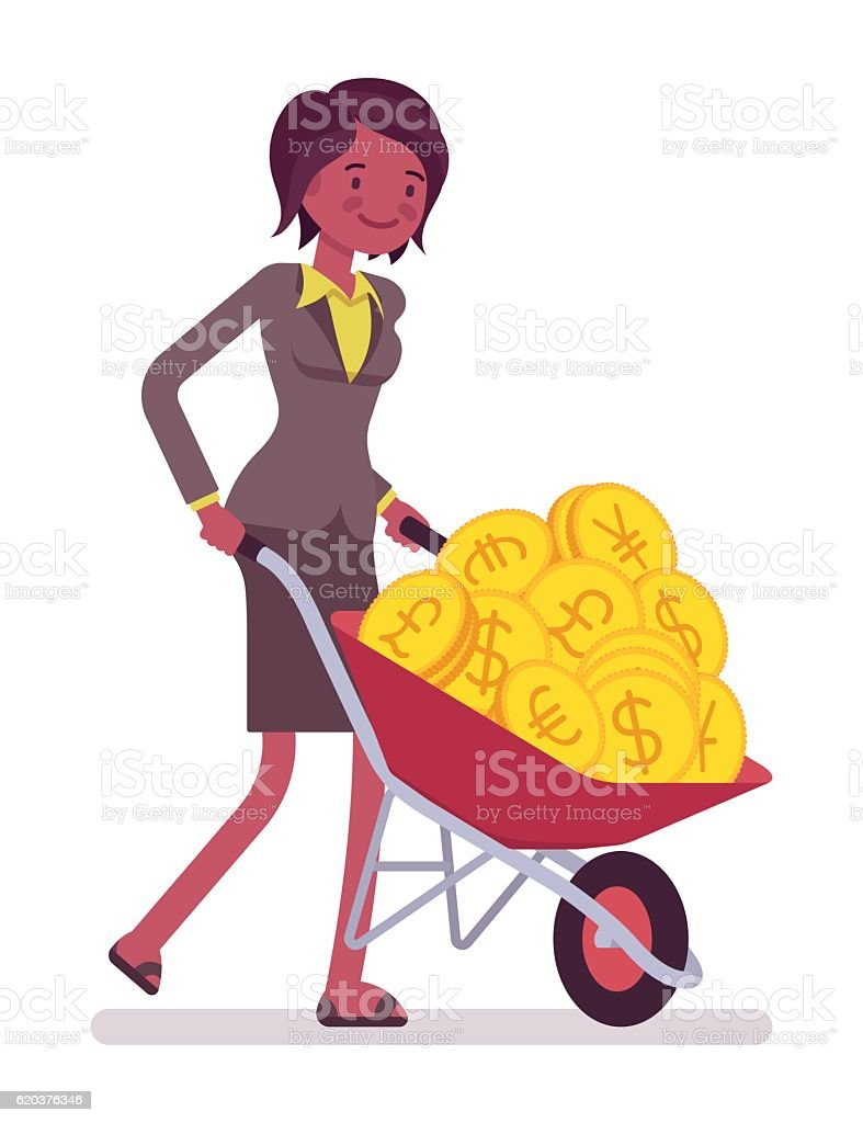 Businesswoman pushing a wheelbarrow full of golden coins businesswoman pushing a wheelbarrow full of golden coins - stockowe grafiki wektorowe i więcej obrazów banknot royalty-free