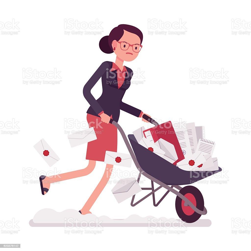 Businesswoman pushing a wheelbarrow full of paper businesswoman pushing a wheelbarrow full of paper - arte vetorial de stock e mais imagens de adulto royalty-free
