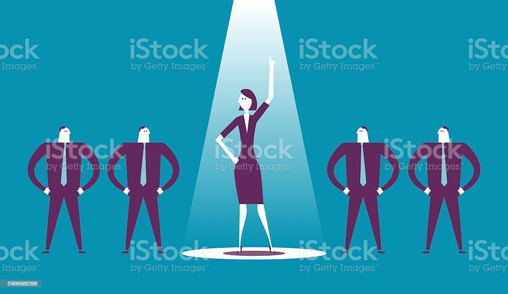 Businesswoman raises her fist in a spotlight. vector art illustration