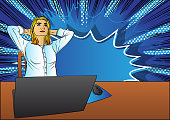 Pop Art Businesswoman relaxing from working at home - comic book style, calm cartoon woman with a laptop. Freelance woman work in comfortable conditions.