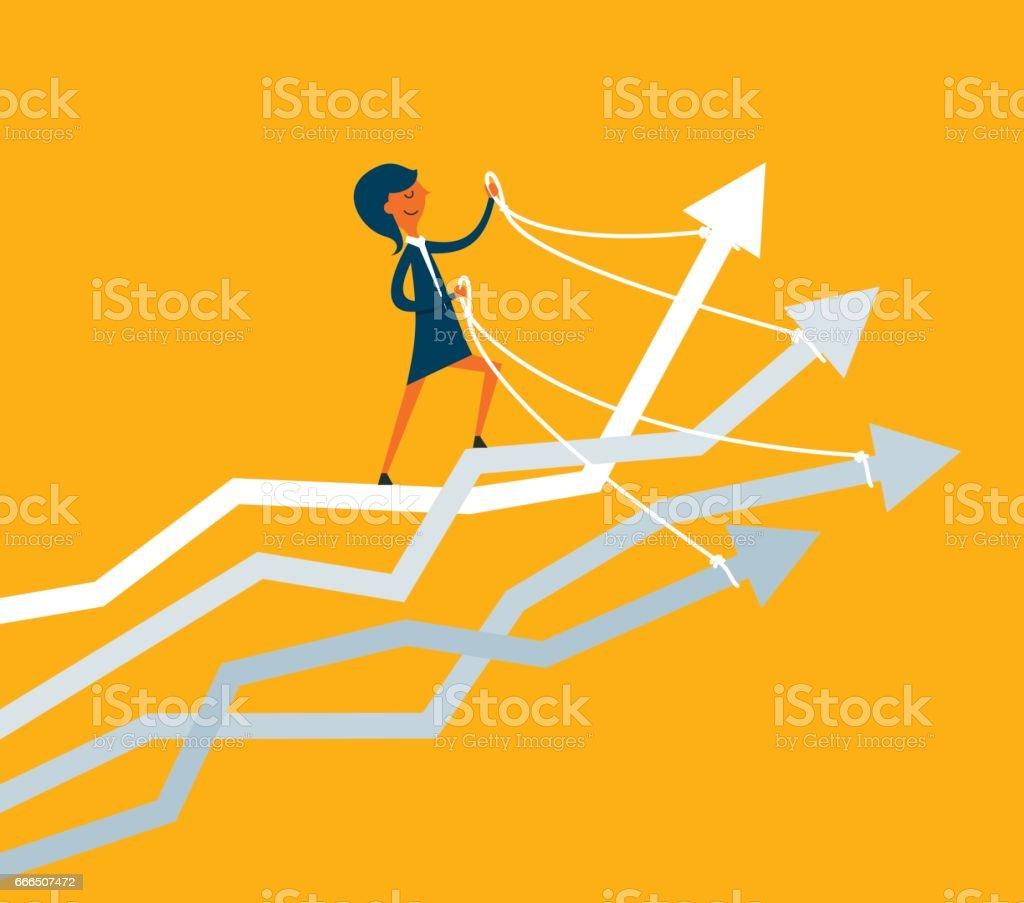 Businesswoman riding many arrows vector art illustration