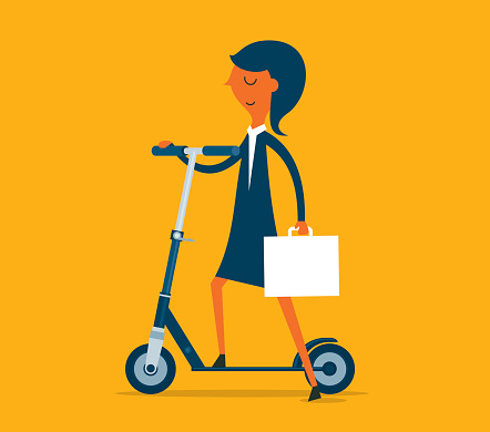 Businesswoman Riding Push Scooter
