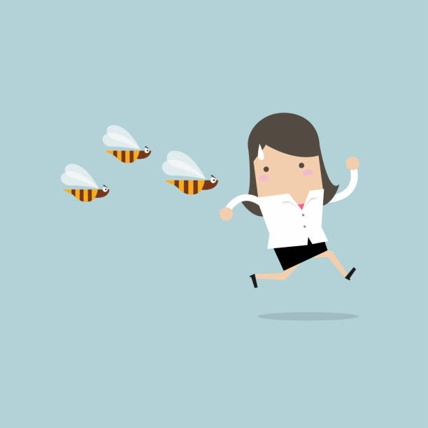 Businesswoman running away from dangerous insects. Businesswoman running away from dangerous insects. vector swarm of insects stock illustrations