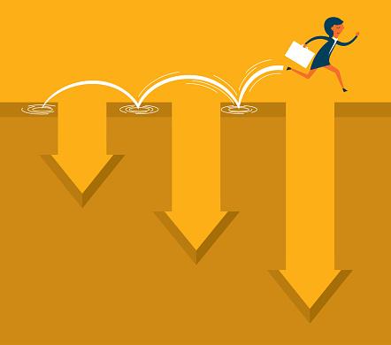 Businesswoman running jump through the gap