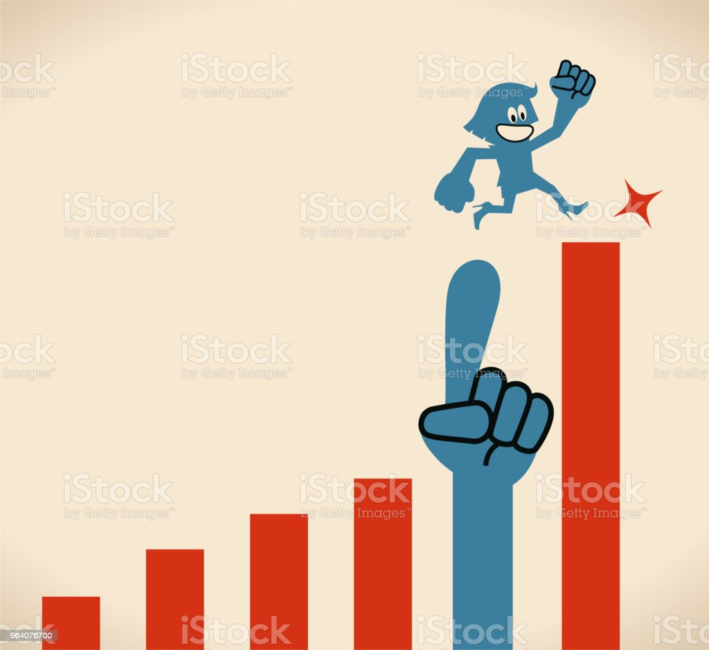 Businesswoman running on growing rate graph with a big helping hand - Royalty-free A Helping Hand stock vector
