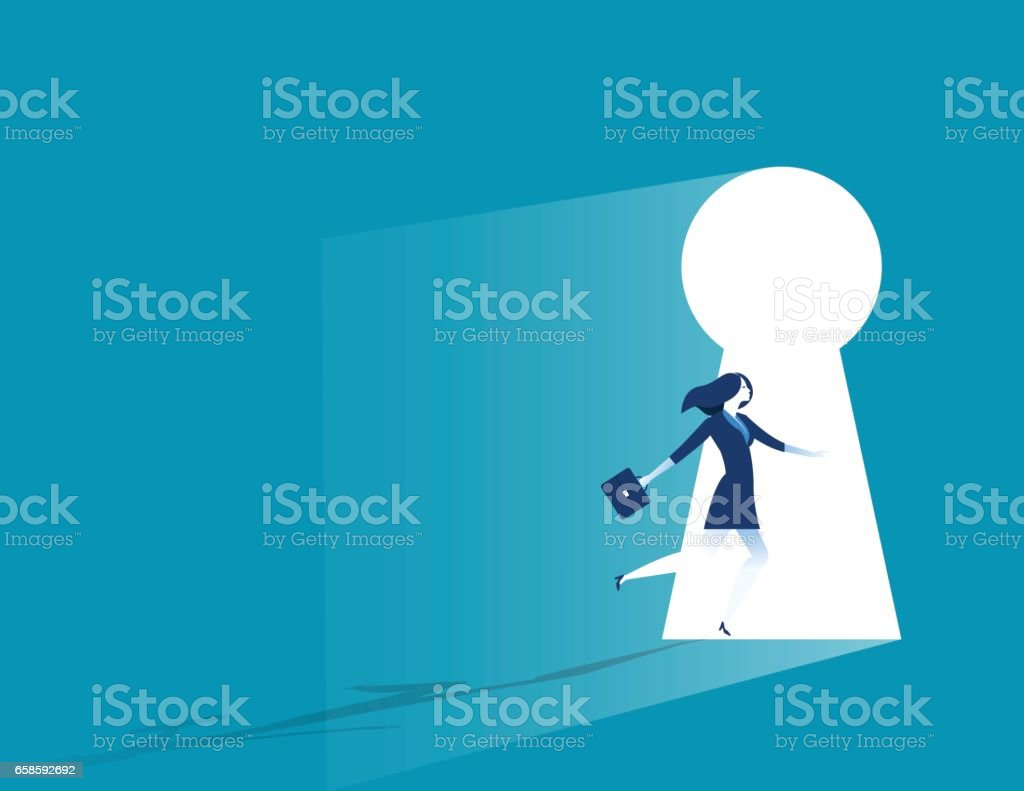 Businesswoman running to large keyhole. Concept business illustration vector art illustration