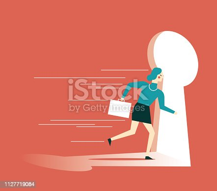 82186105 istock photo businesswoman running towards a key hole 1127719084