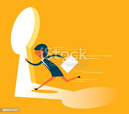 82186105 istock photo businesswoman running towards a key hole 883001522