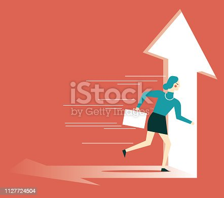 82186105 istock photo businesswoman running towards arrow shape hole 1127724504