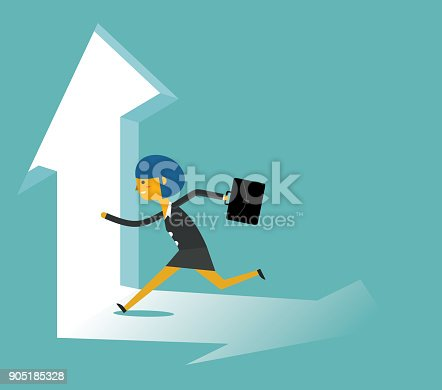 82186105 istock photo businesswoman running towards arrow shape hole 905185328