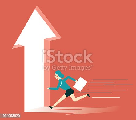 82186105 istock photo Businesswoman running towards arrow shape hole 994093620