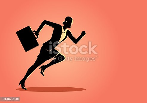 Business concept vector illustration of a businesswoman running with briefcase, business, energetic, dynamic concept