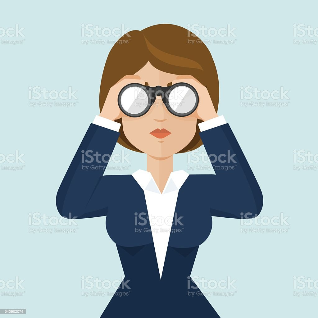 Businesswoman searching for information vector art illustration