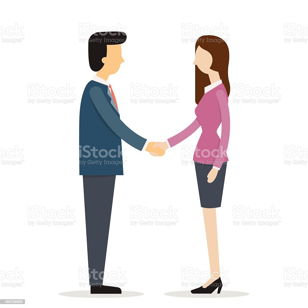 Businesswoman shakehand vector art illustration