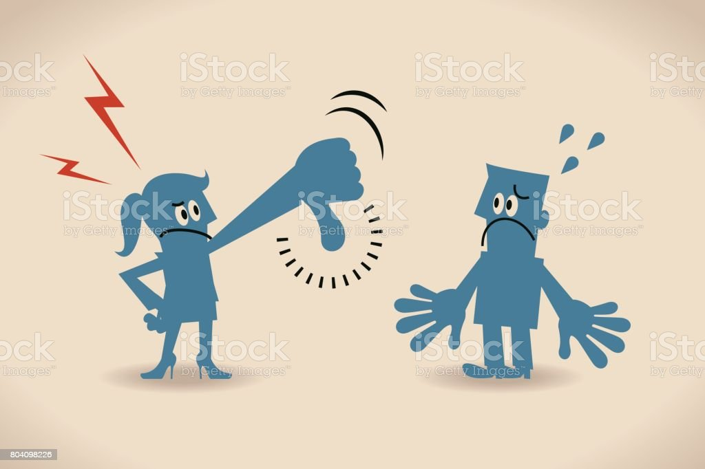 Businesswoman (woman) showing thumbs down gesture to businessman (man) vector art illustration