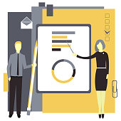 Business presentation concept . Businesswoman  shows graphics.Business man with a pencil. Vector illustration