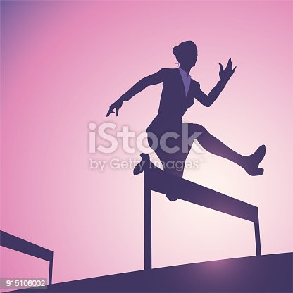 An illustration of a businesswoman silhouette hurdling.