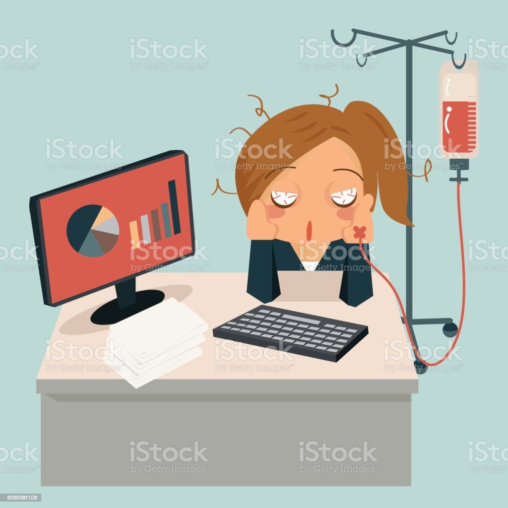 Businesswoman sitting in office, looking very sick and her hand attaching intravenous tube to medicine dropper. vector art illustration