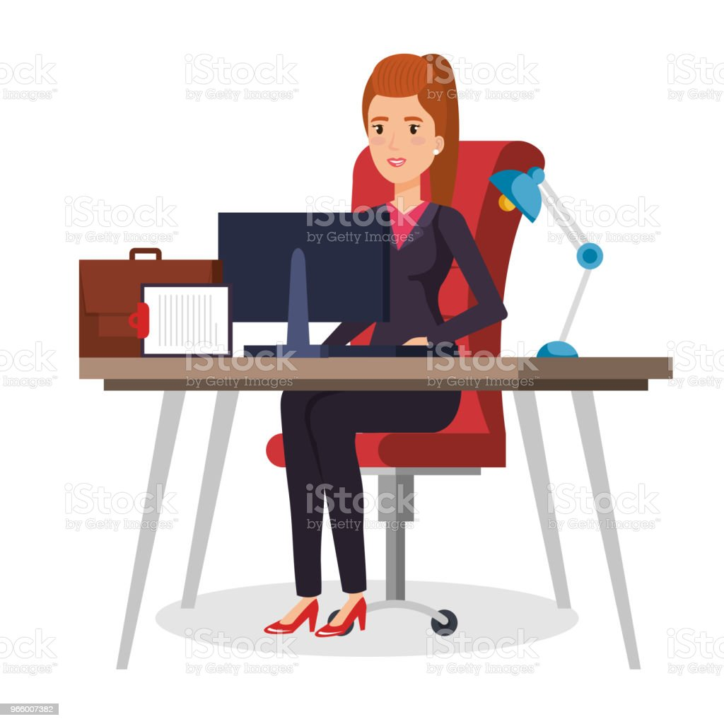 businesswoman sitting in the office - Royalty-free Adult stock vector