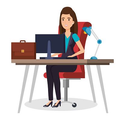 Businesswoman Sitting In The Office — стоковая векторная графика и другие изображения на тему Бизнес
