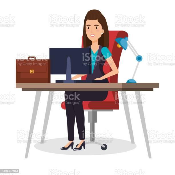 Бизнеследи Сидит В Офисе — стоковая векторная графика и другие изображения на тему Бизнес