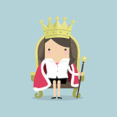 Businesswoman sitting on the throne with the crown like a queen. vector