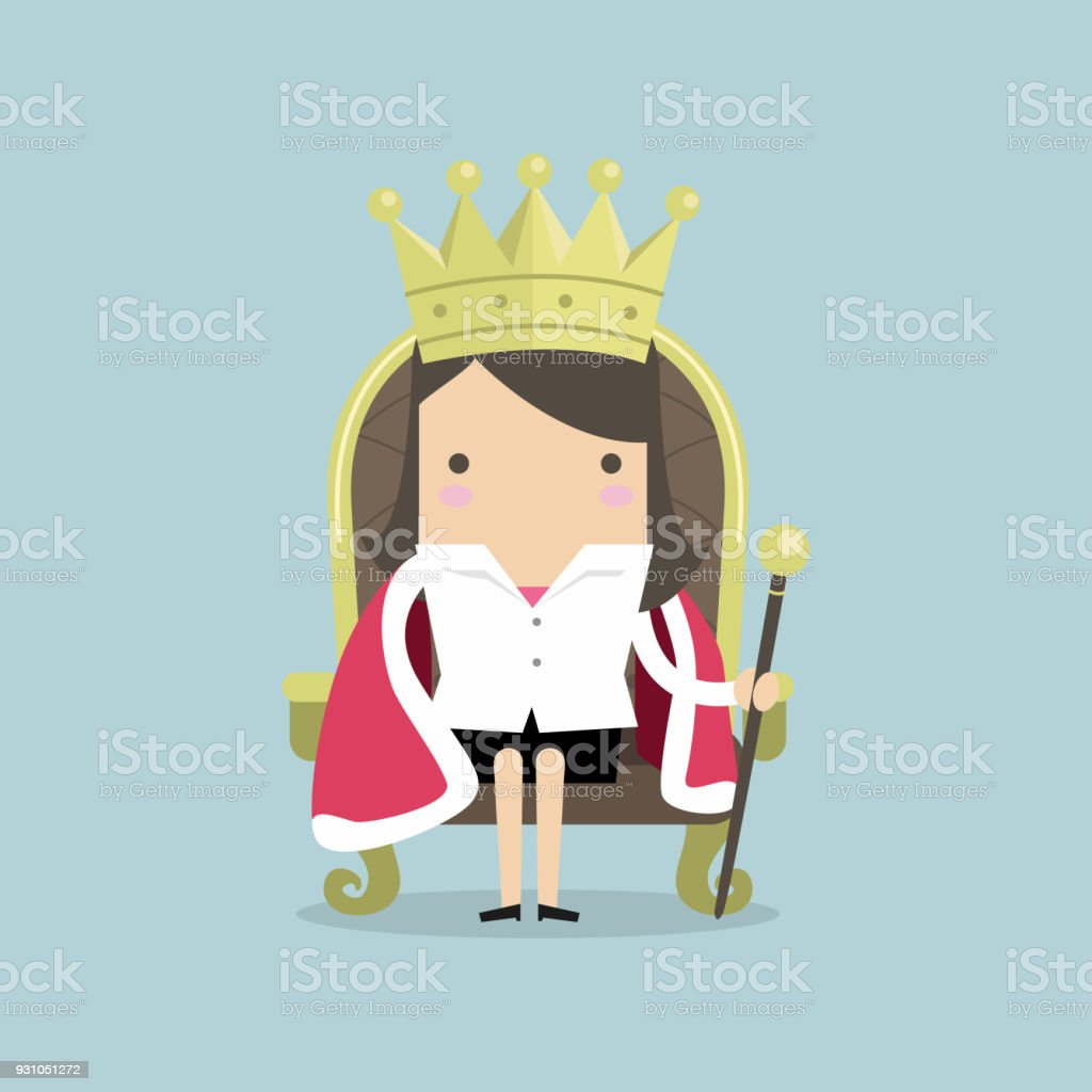 Businesswoman sitting on the throne with the crown like a queen. vector art illustration