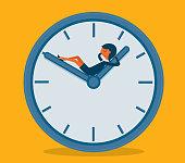 Businesswoman sleeping on clock