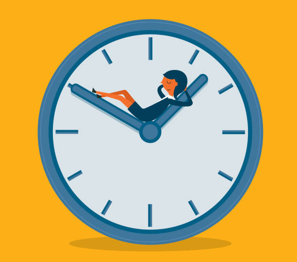 Businesswoman sleeping on clock vector art illustration