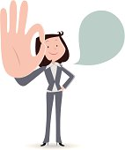 Vector illustration – Businesswoman smiling and gesturing ok hand sign.