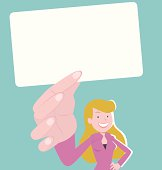 Vector illustration – Businesswoman smiling and holding a white card.