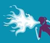 Vector illustration - Businesswoman spitting fire