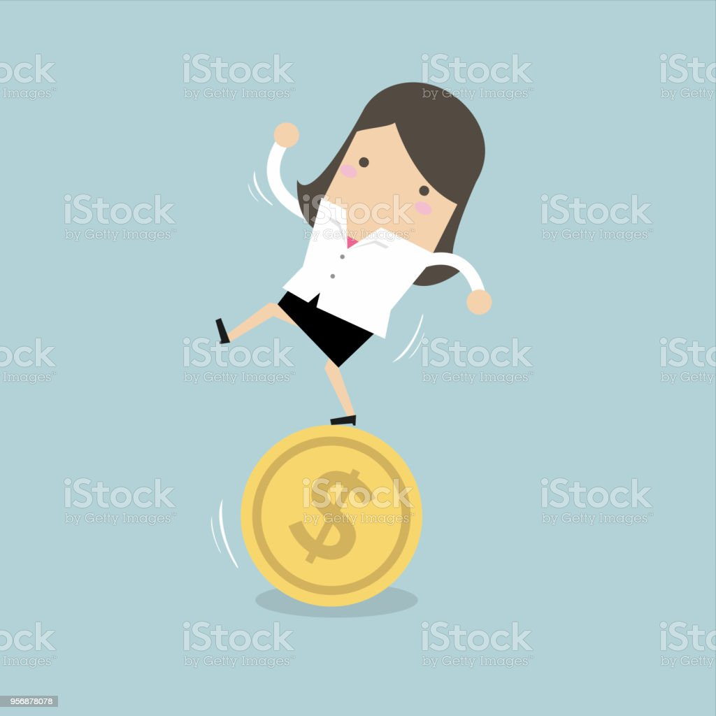 Businesswoman stand on coin. vector art illustration