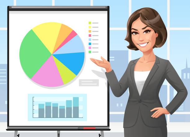 geschäftsfrau, stehend auf einem flipchart im büro - chefin stock-grafiken, -clipart, -cartoons und -symbole