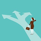 Businesswoman Standing at The Juncture | New Business Concept