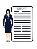 Businesswoman Standing Beside Her Report