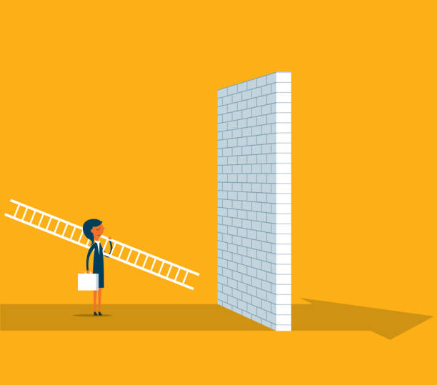 Businesswoman standing in front of a large brick wall Businesswoman Carrying Ladder to Climb Wall frustration stock illustrations