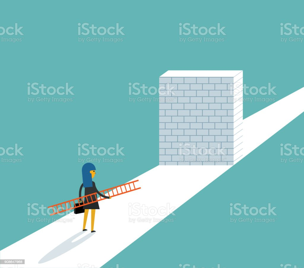 Businesswoman standing in front of a large brick wall vector art illustration