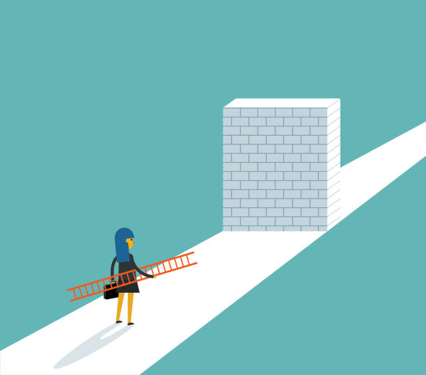 Businesswoman standing in front of a large brick wall The Way Forward frustration stock illustrations