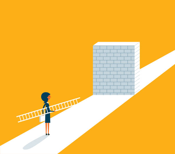 Businesswoman standing in front of a large brick wall The Way Forward obstacle course stock illustrations