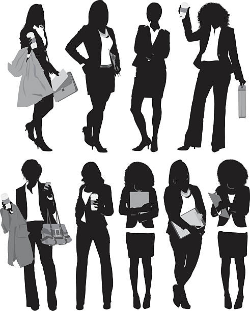 ilustraciones, imágenes clip art, dibujos animados e iconos de stock de mujer de negocios de pie en diversas acciones - ejecutiva