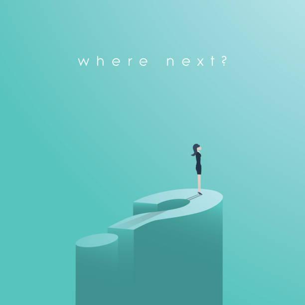 女實業家站在大問號向量的概念。機遇、解決、兩難的象徵 - 不確定 幅插畫檔、美工圖案、卡通及圖標