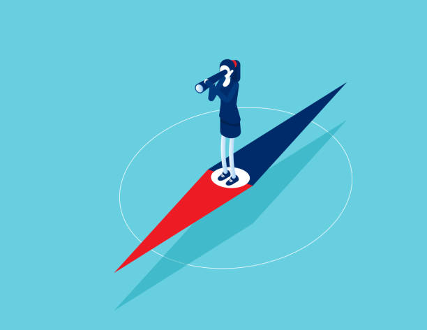 Businesswoman standing on pointer and exploring direction. Looking through telescope vector art illustration