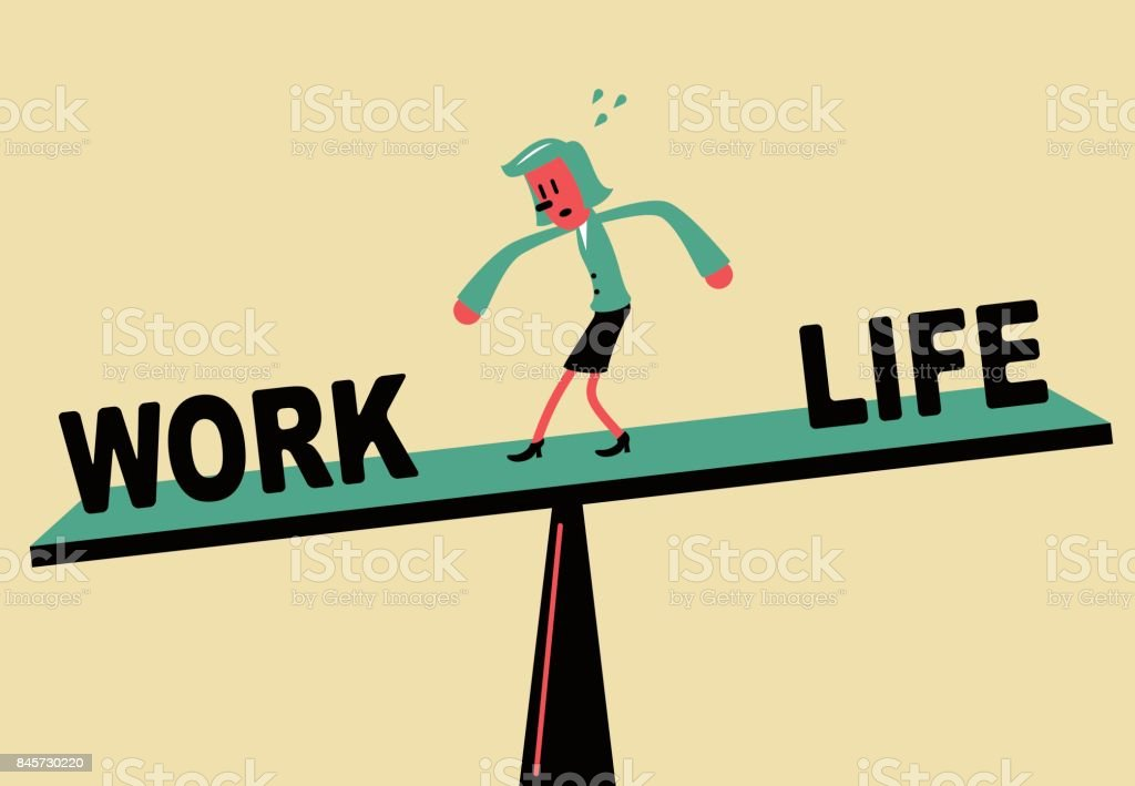 Businesswoman standing on seesaw, Work Life Balance vector art illustration