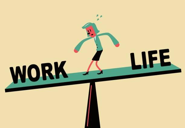 illustrations, cliparts, dessins animés et icônes de femme debout sur la balançoire, work life balance - femmes actives