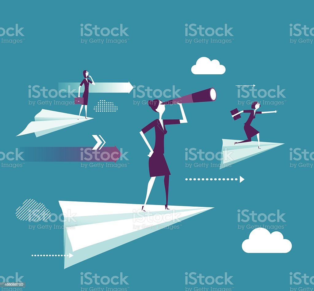 Businesswoman standing on the paper plane vector art illustration